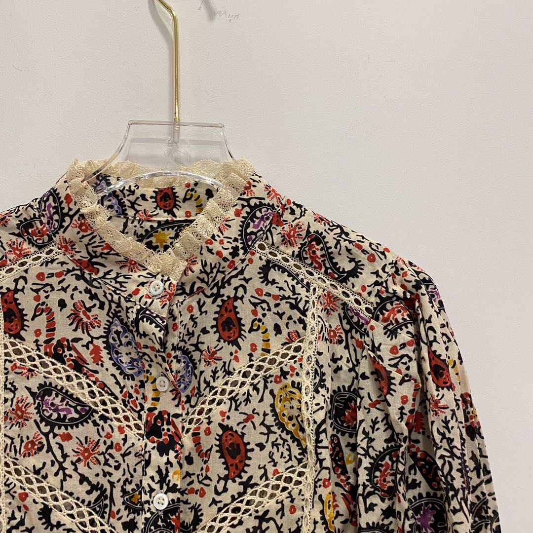 Women Shirt Spring and Summer Color Matching Cashew Flowers Lace Stand Collar Cotton Shirt