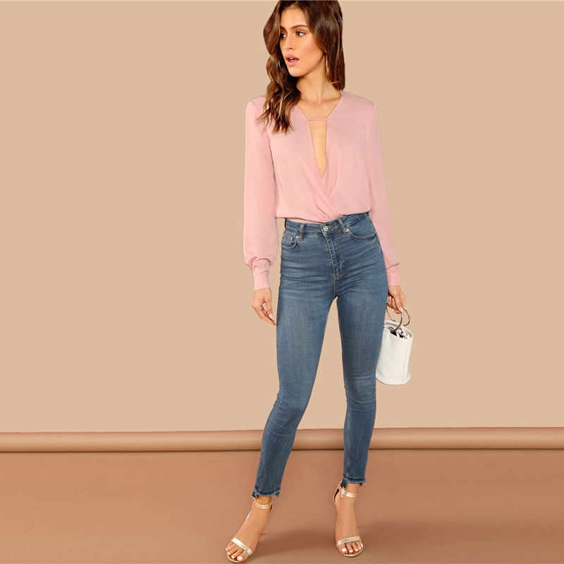 SHEIN Pink Office Lady Elegant Solid Button Draped Wrap Deep V Neck Long Sleeve Blouse Autumn Workwear Women Tops And Blouses