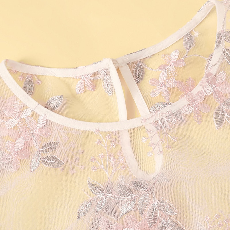 SHEIN Sexy Pink Floral Embroidered Mesh Sheer Crop Top Blouse Women Summer Keyhole Back O-Neck Short Sleeve Sweet Blouses
