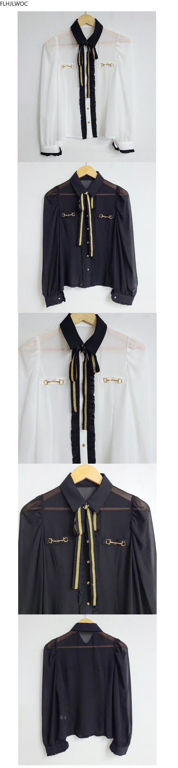 Autumn Womens Basic Office Lady Work Wear Sexy Transaprent Cute Bow Tie Top Single Breasted Button Solid White Shirts Blouses