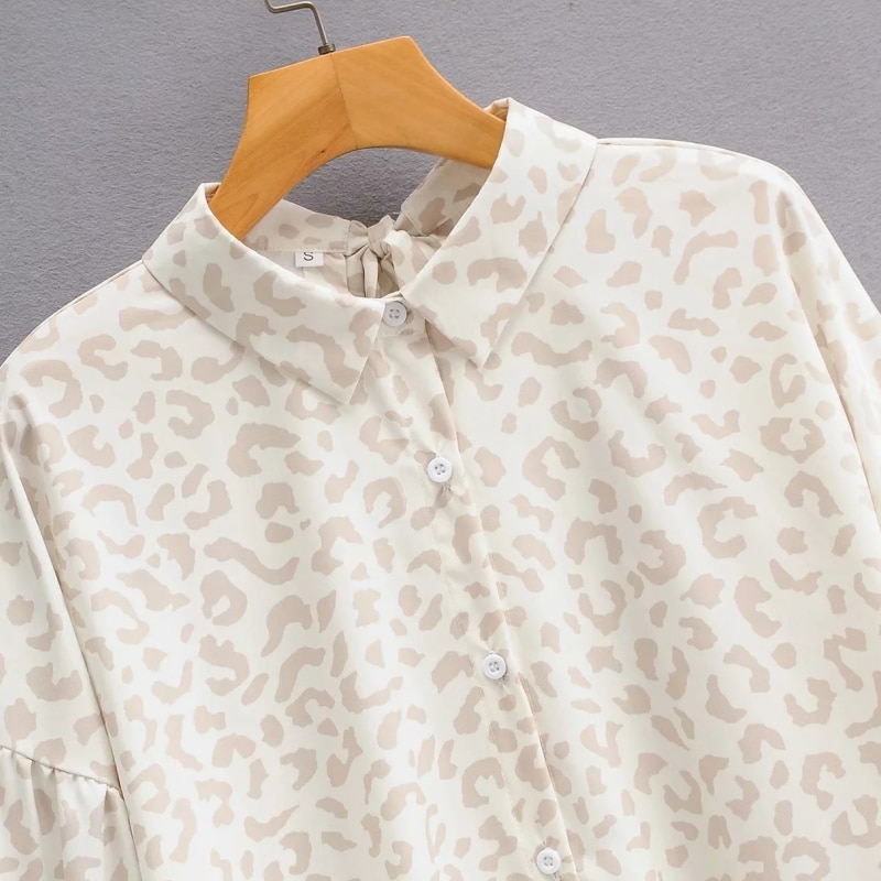 Woman Leopard Print Back bow Loose Shirt Femme Long sleeve Blouse Casual Lady Tops Smock Blusas S8008