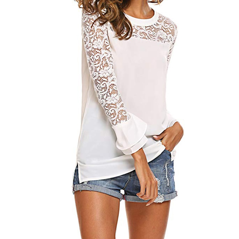 Aachoae White Lace Blouse O-neck Solid Office Shirts Tunic 2020 Ruffles Sleeve Womens Blouses Casual Loose Tops Pullover Blusas