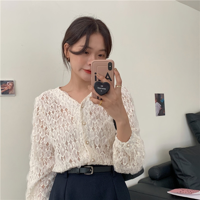 New Embroidery Lace Womens Blouses Summer Tops Femme Casual Women Shirt long Sleeve Girls Blouse Plus Size Blusas white