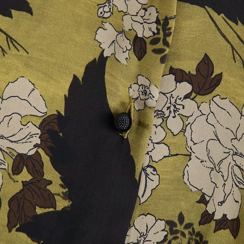2021 New Spring Women Flower Printing Button Decoration Blouse Female Long Sleeve Shirt Vintage Loose Tops Blusas S8336