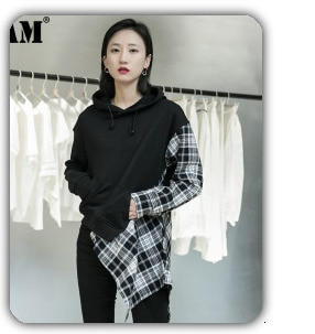 [EAM] 2021 New Spring Summer Lapel One-sided Long-sleeved Accessories Irregular Personality Shirt Women Blouse Fashion  JX407