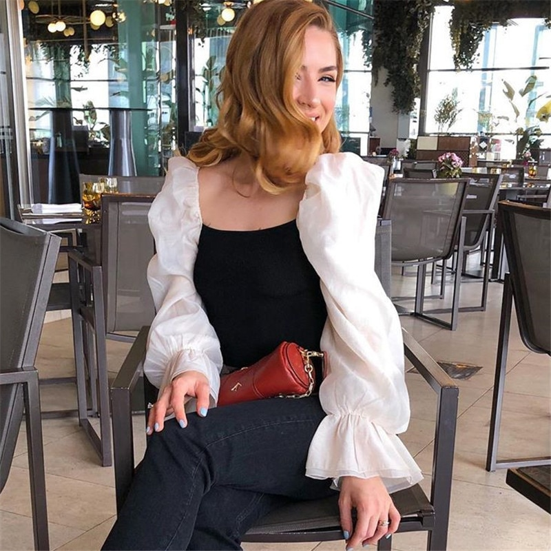 Stylish Sweet Patchwork Organza Knitted Blouses Women Fashion See Through Sleeve Stretch Female Shirts Party Chic Blouses
