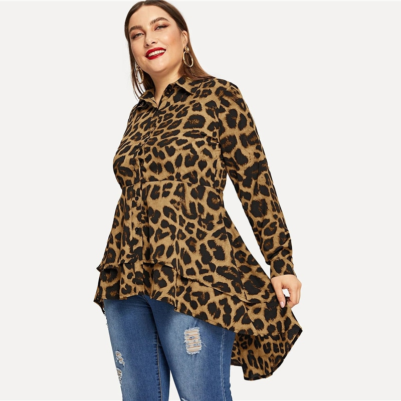 SHEIN Plus Size Casual Leopard Print Dip Hem Shirt Blouse Women Spring Autumn Layered Hem Office Lady Long Tops and Blouses