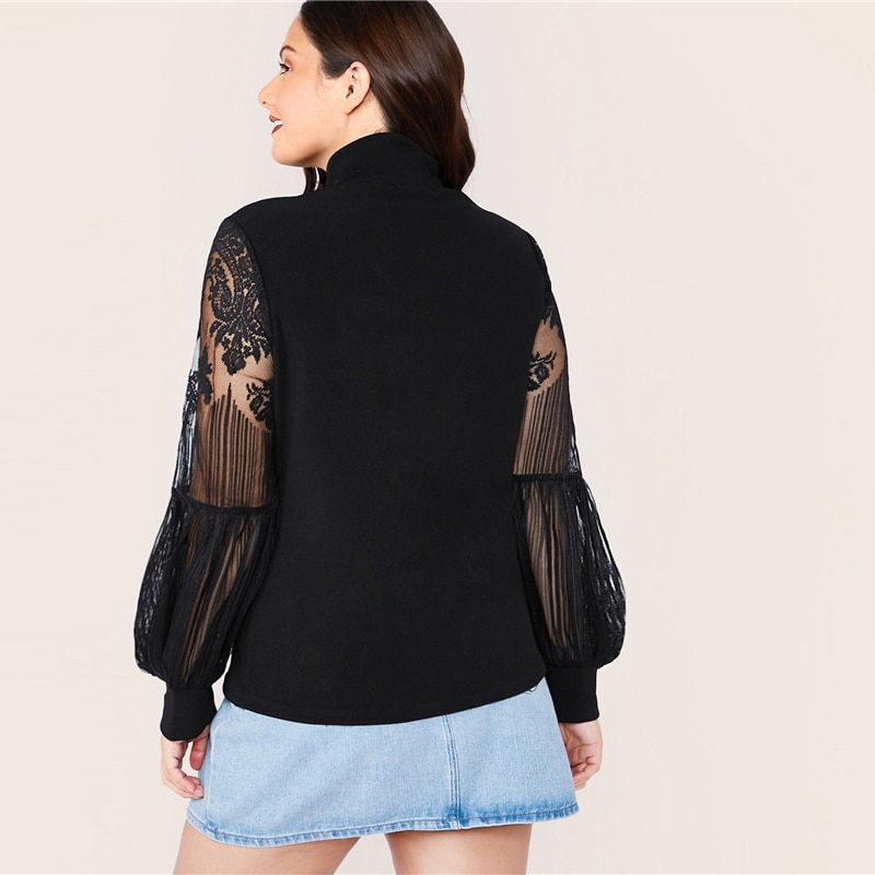SHEIN Plus Size Black Mock Neck Lace Lantern Sleeve Fitted Top Women Autumn Solid Elegant Office Lady Womens Tops and Blouses