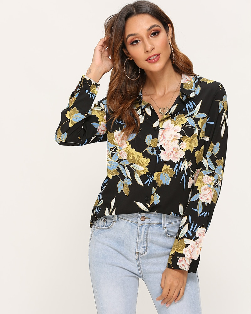 Aachoae Vintage Floral Printed Blouse Women Long Sleeve Casual Shirt Turn Down Collar Plus Size Office Tops For Ladies Blusas