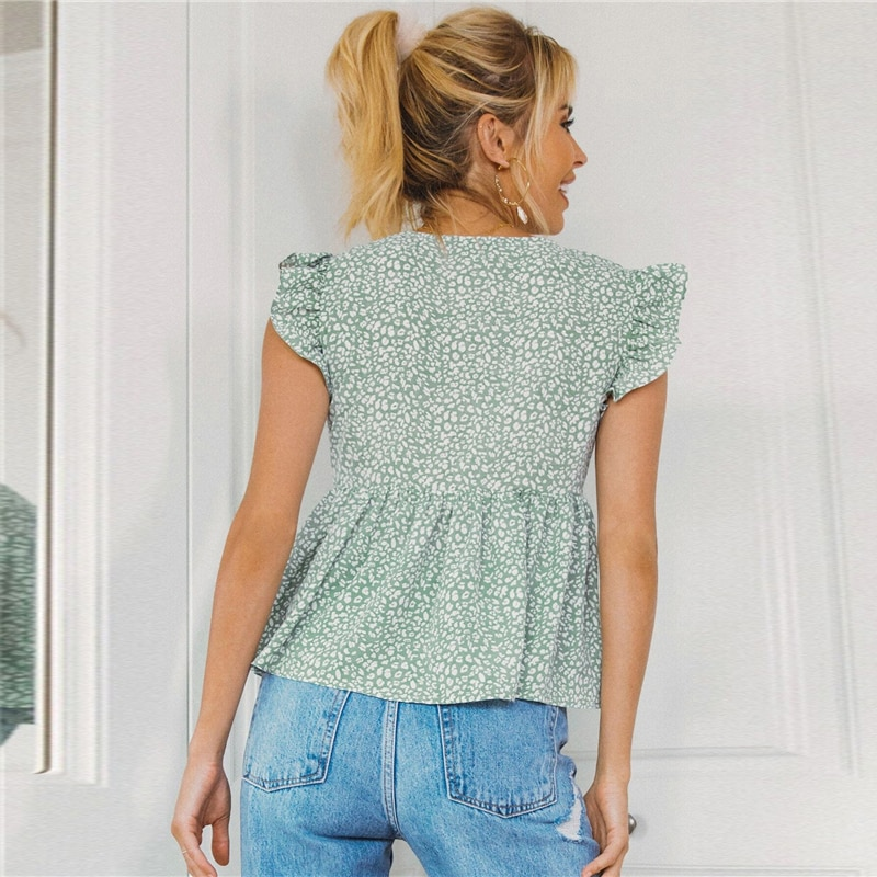 SHEIN Green Tie Front Ruffle Armhole Smock Top Blouse Women Summer V Neck Sleeveless Ladies Ditsy Floral Boho Cute Tops