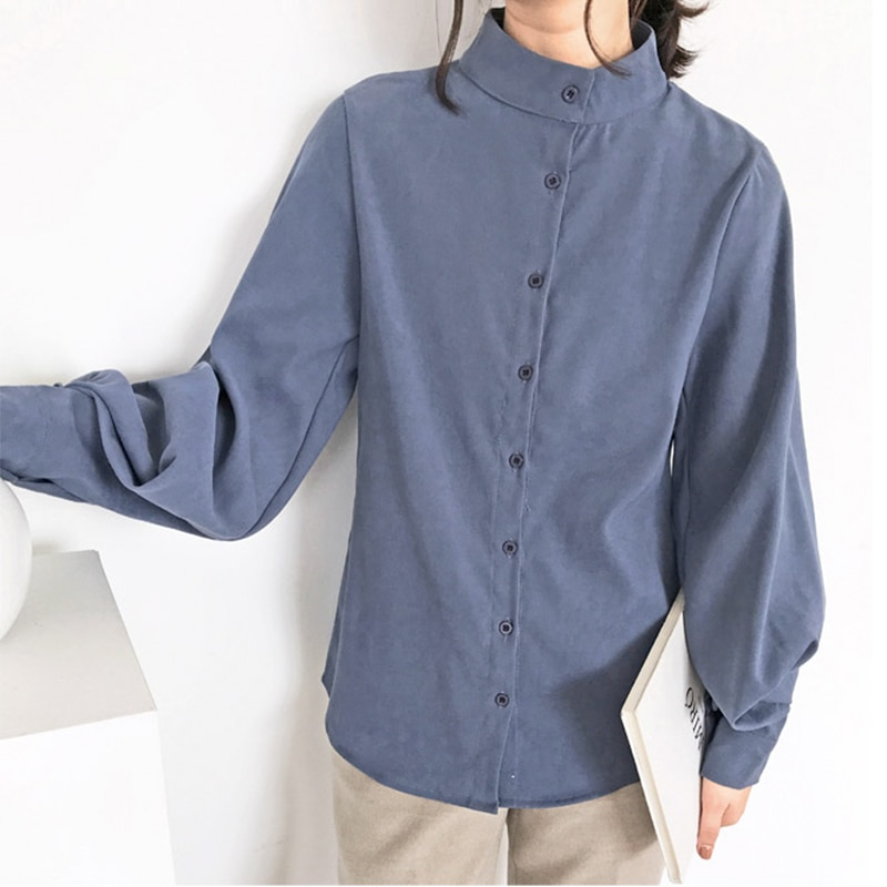 Simplee Elegant Blue Lantern Sleeve Blouse Solid Color Stand Collar Long Sleeve Casual Shirt Fashion button office lady shirt
