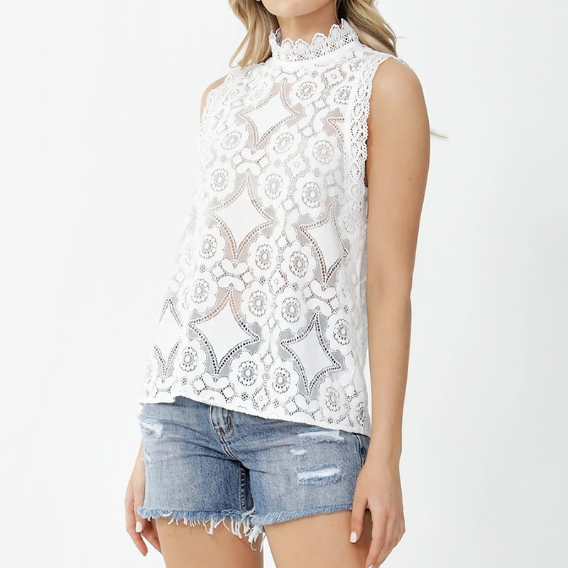 Simplee Sexy lace perspective plus size blouse top women casual solid sleeveless hollow out shirt 2020 women Blusas Feminina