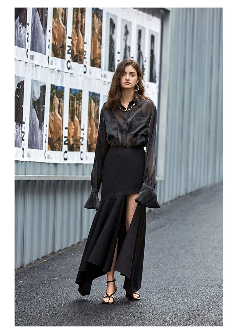 [EAM] Women Black Organza Perspective Big Size Blouse New Lapel Long Sleeve Loose Fit Shirt Fashion Spring Autumn 2021 1T606