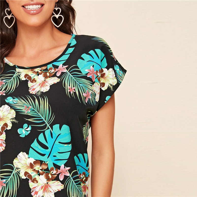 SHEIN Black Tropical Print Batwing Sleeve Top Blouse Ladies 2020 Summer O Neck Casual Cute Womens Tops and Blouses