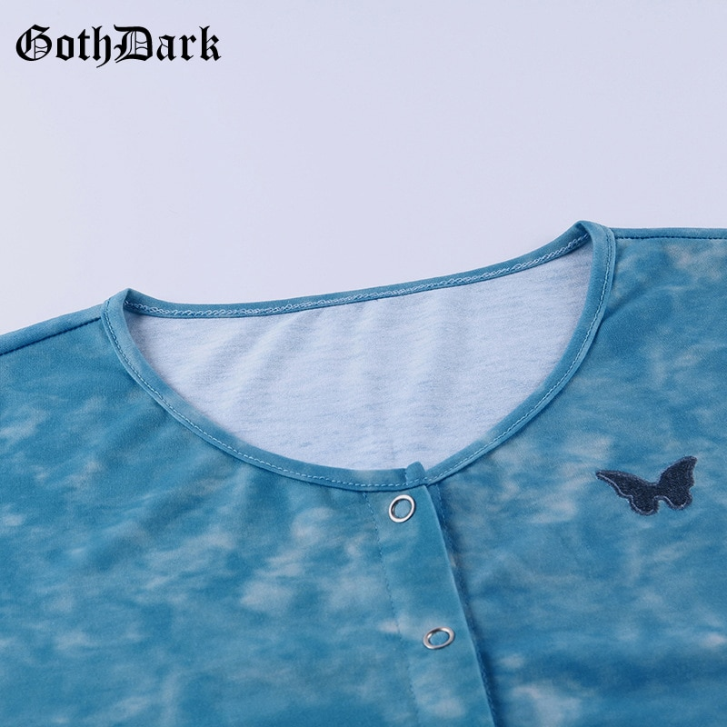 Goth Dark O-Neck Bodycon Women's Blouses Summer Butterfly Embroidery Tie Dye Crop Top Fashion Korean Style Party Vintage Shirts