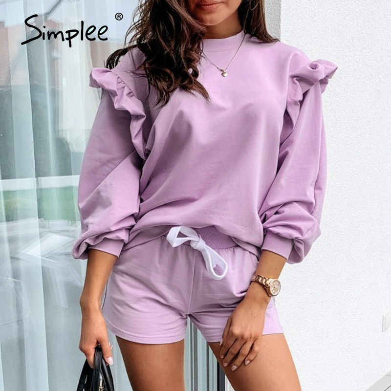 Simplee Solid knitted women work blouse Fashion flower pattern hollow long sleeve pullover Casual round neck ladies home blouse