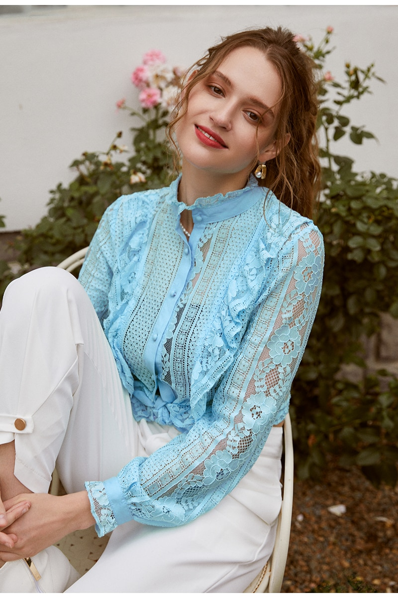Simplee Sexy stand collar lace women blouse shirt Long sleeve hollow out ruffle female top blouse High street style ladies shirt
