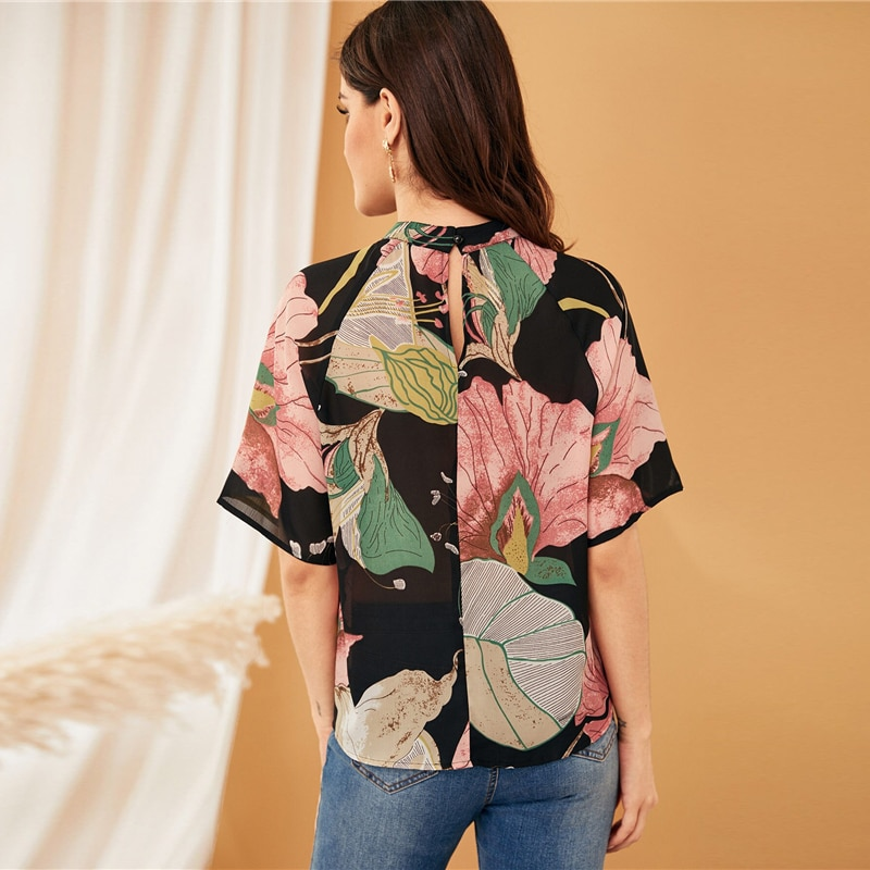 SHEIN Multicolor Stand Collar Botanical Print Blouse Top Women Summer Half Sleeve Keyhole Back Casual Workwear Tops and Blouses