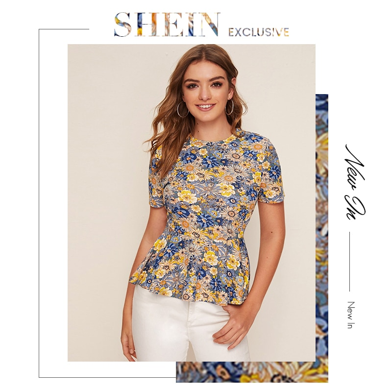 SHEIN Multicolor Floral Print Peplum Short Sleeve Top Women 2020 Summer Flared Ruffle Hem O-neck Womens Blouses and Tops