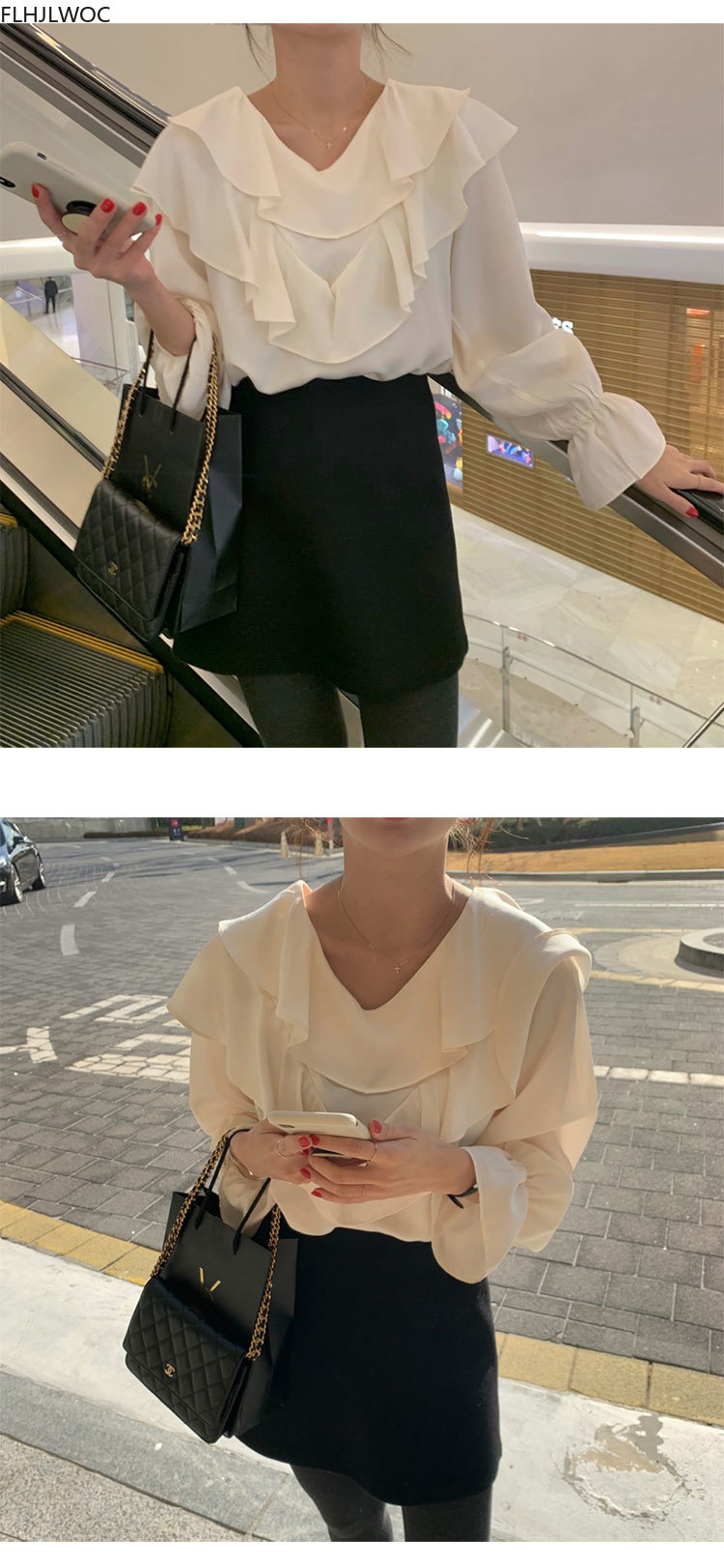 2020 Autumn Basic Shirts Long Sleeve Cute Casual Loose Back Bow Tie White Black Women Ruffled Chic Tops And Blouses