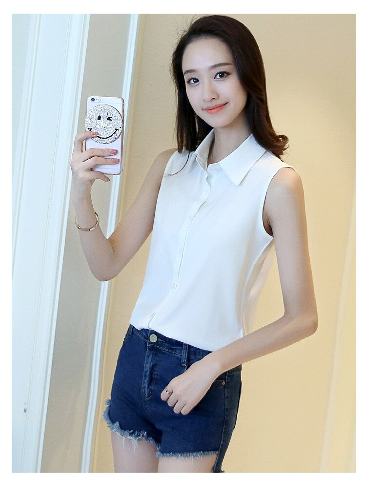 Fashion Women Sexy Turn Down Collar Blouse Sleeveless Plus Size 4XL Solid Color Shirt Elegant Casual Brand Design Tops MZ1504