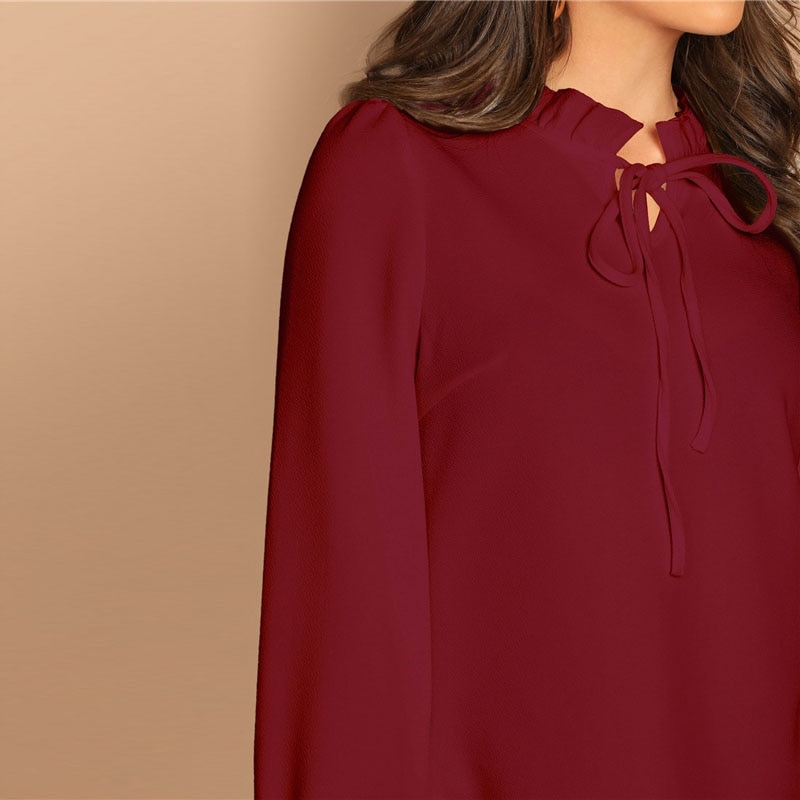 SHEIN Burgundy Frilled Neck Knot Solid Casual Top Women 2019 Spring Plain Womens Tops and Blouses Long Sleeve Workwear Blouse