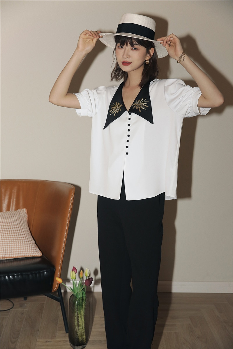 CHEERART Puff Sleeve Vintage Blouse V Neck Summer Embroidery Short Sleeve Ladies Top Button Korean Fashion Clothing