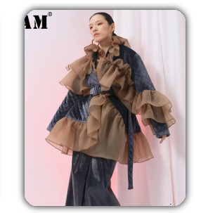 [EAM] Women White Pattern Printed Big Size Blouse New Lapel Long Sleeve Loose Fit Shirt Fashion Tide Spring Summer 2021 1Y745