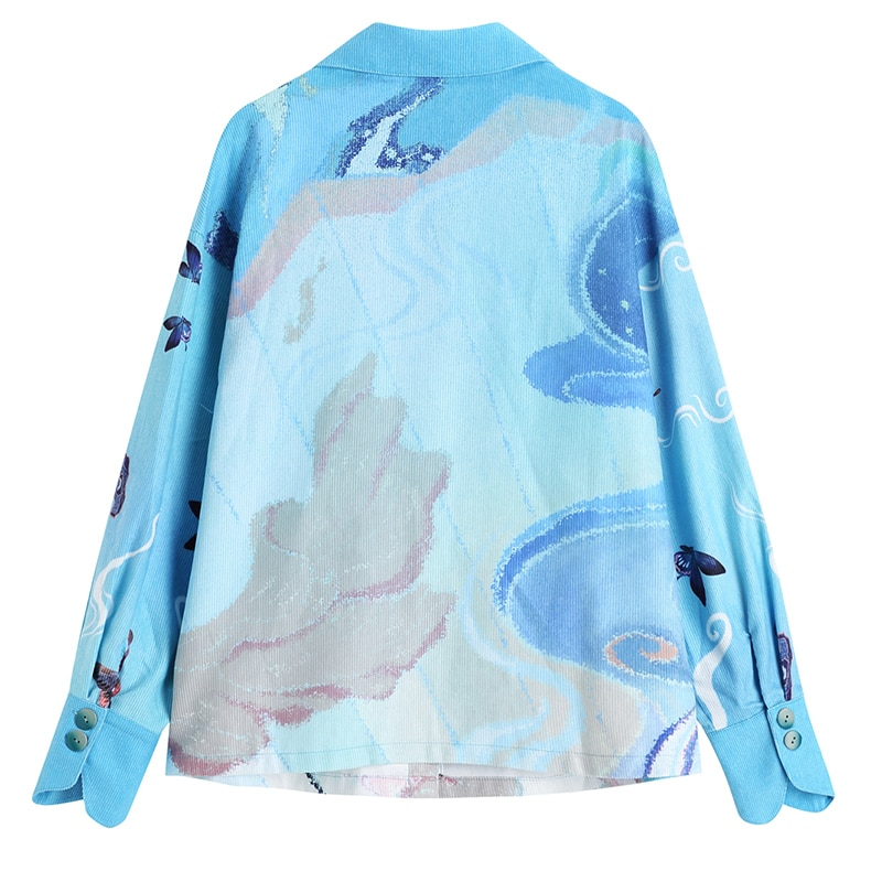 [EAM] Women Blue Pattern Printed Big Size Blouse New Lapel Long Sleeve Loose Fit Shirt Fashion Tide Spring Autumn 2021 1DD0203