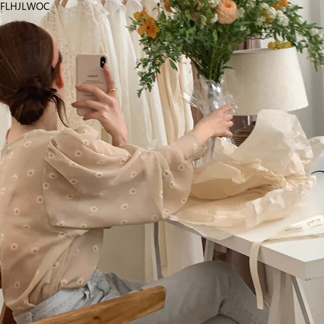 2020 Fall Autumn Long Sleeve Retro Vintage Tops Chic Fashion Korea Casual Loose Floral Printed Women Transparent Top and Blouses