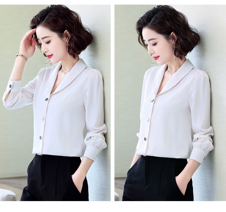 V Neck Chiffon Shirt Women Fashion Casual Long Sleeve Blouses 2020 Spring New Loose Formal Plus Size Office Ladies Work Tops