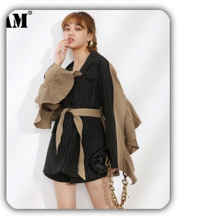 [EAM] Women Gray Contrast Color Big Size Blouse New Lapel Long Sleeve Loose Fit Shirt Fashion Tide Spring Autumn 2021 1DC674