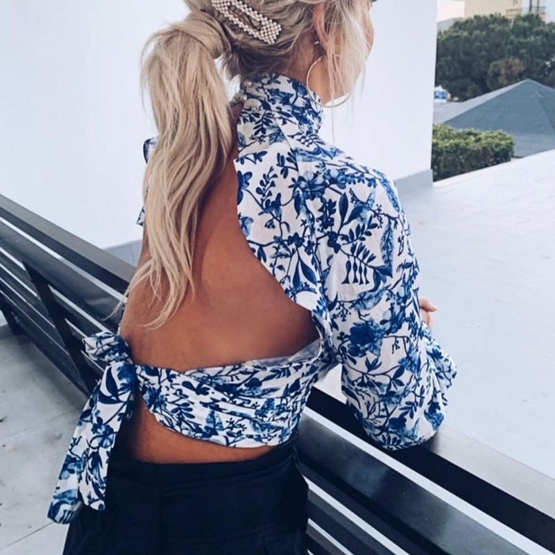 Floral Open Back Sexy Crop Women Blouse Shirt O Neck Lantern Sleeve Backless Short Bloused Lace Up Ladies Blusas