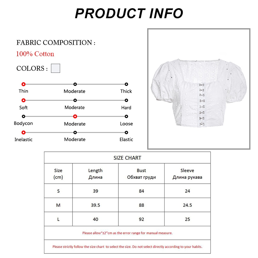 OOTN Casual Square Neck White Shirt Women Blouse Hollow Out Embroidery Sexy Crop Top 2019 Summer Short Sleeve Tops Female Cotton