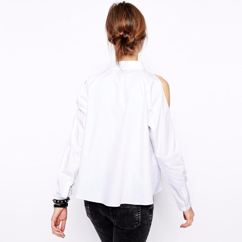 Casual Single Breasted Shirt Female Cold Shoulder White Shirt Women Tops 2020 Summer Long Sleeve Blouse Ladies Clothing Black