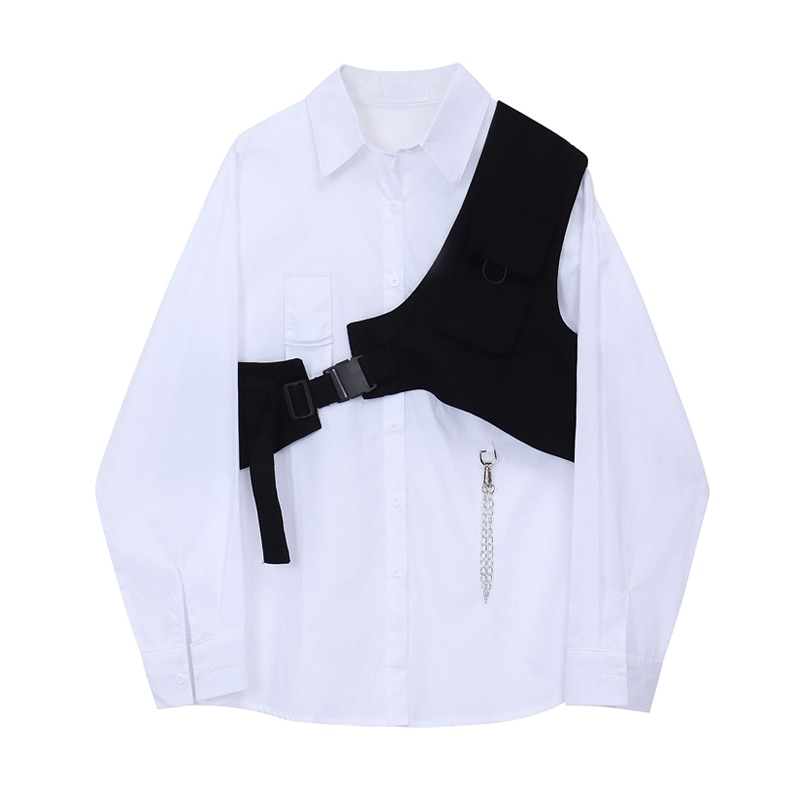 Spring Autumn Two Piece Sets Women Long Sleeve Loose White Blouse Shirt Tops + Bandage Black Vest 2020 Fashion Suits Casual