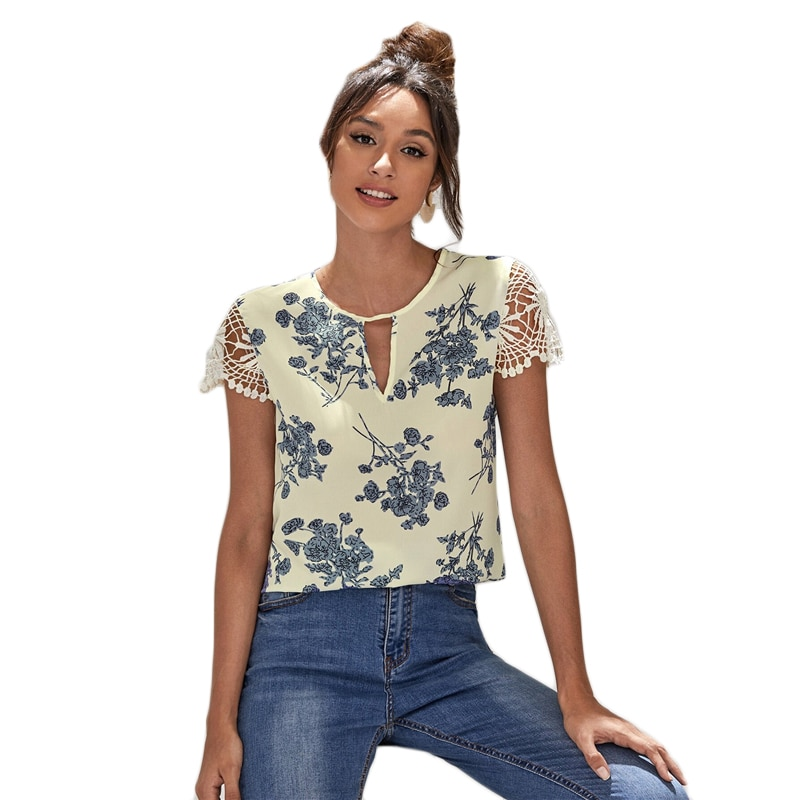 SHEIN Beige Keyhole Neck Guipure Lace Sleeve Floral Top Women Summer Cut Out Sleeve Casual Womens Tops and Blouses