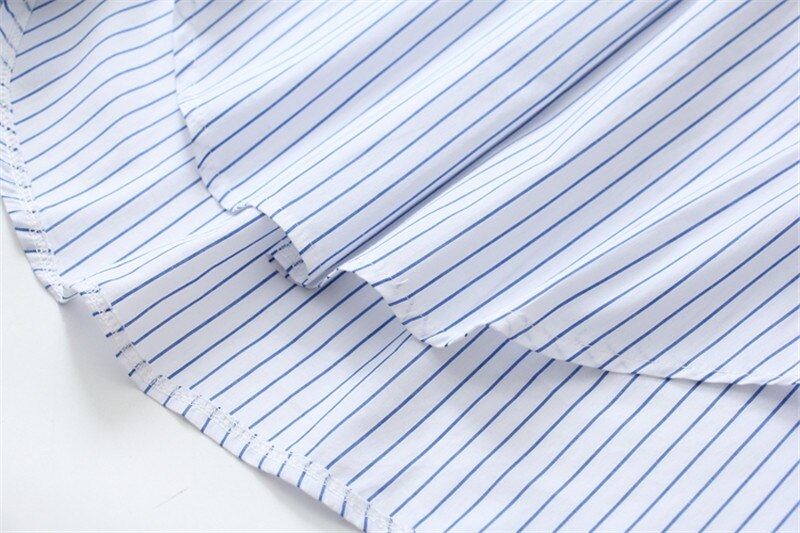 Syiwidii Bow Knot Blouse Sky Blue and White Striped Womens Tops and Blouses Long Sleeve Shirt with Pockrt Shirts 2020 Spring Top