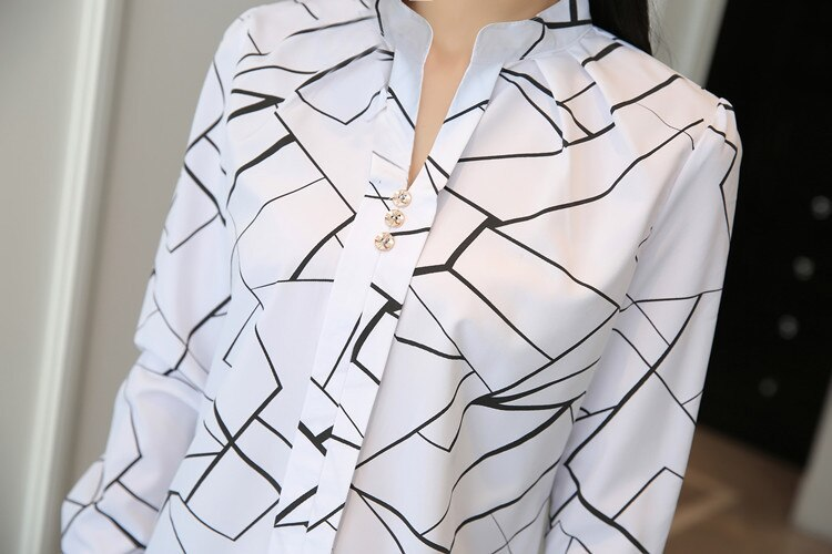 Women Fashion White Tops and Blouses Stripe Print Design Casual Long Sleeve Office Lady Work Formal Shirts Female Plus Size 2020