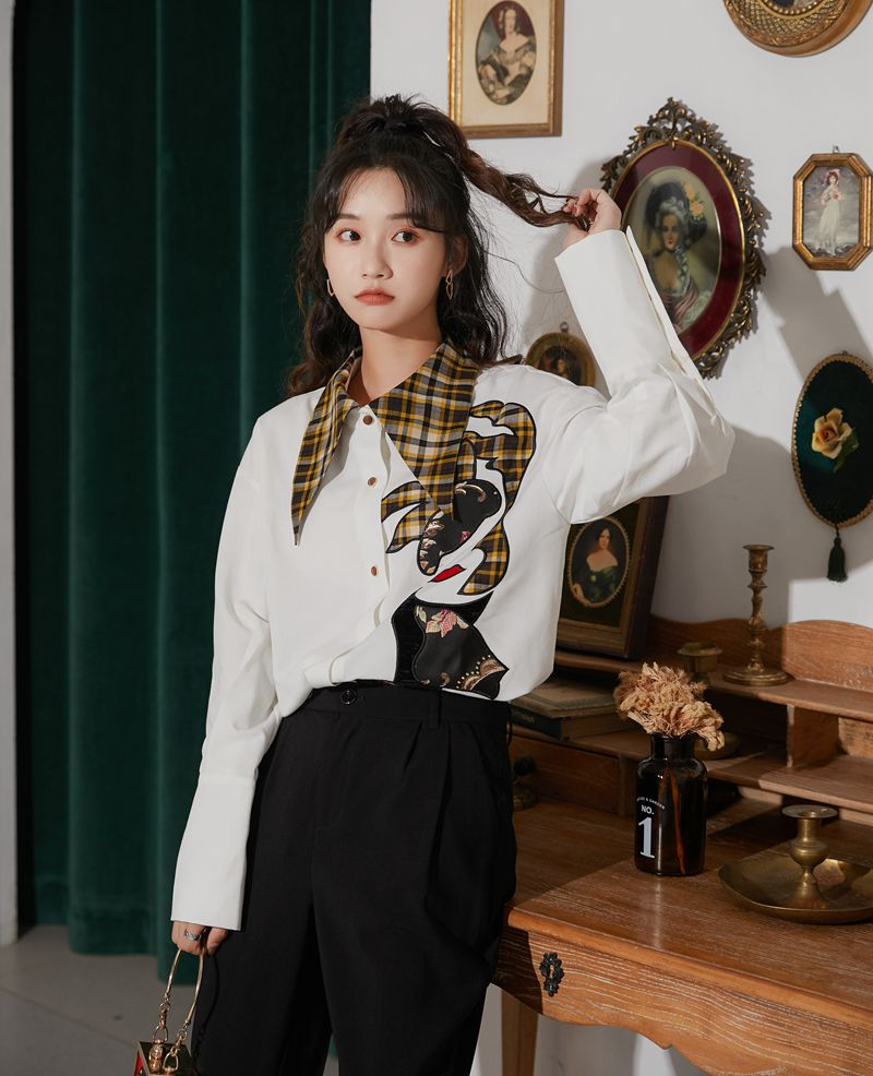 CHEERART Designer Fall 2020 Women Long Sleeve Blouse White Button Up Plaid Loose Collar Shirt Tops And Blouses Aesthetic Clothes