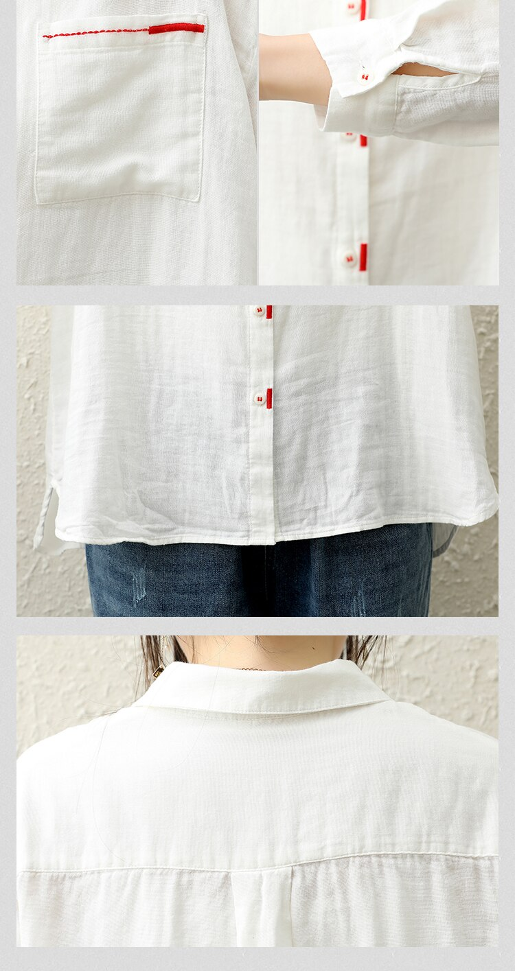 Johnature Cotton Linen Solid Color Turn-down Collar Single Breasted Long Sleeve Shirt 2020 Autumn New Loose Leisure Women Tops