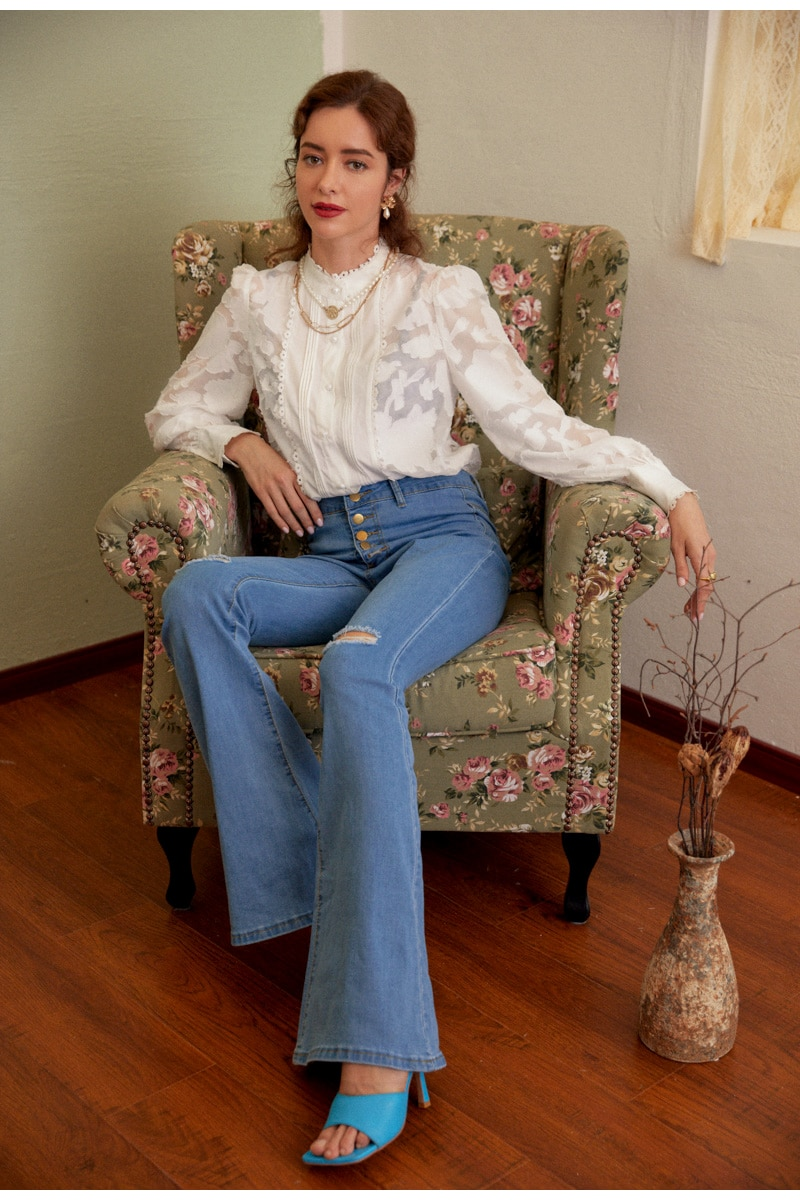 Simplee Casual crew neck women blouse shirt Long sleeve hollow out flower female tops shirts Office ladies splice white blouse