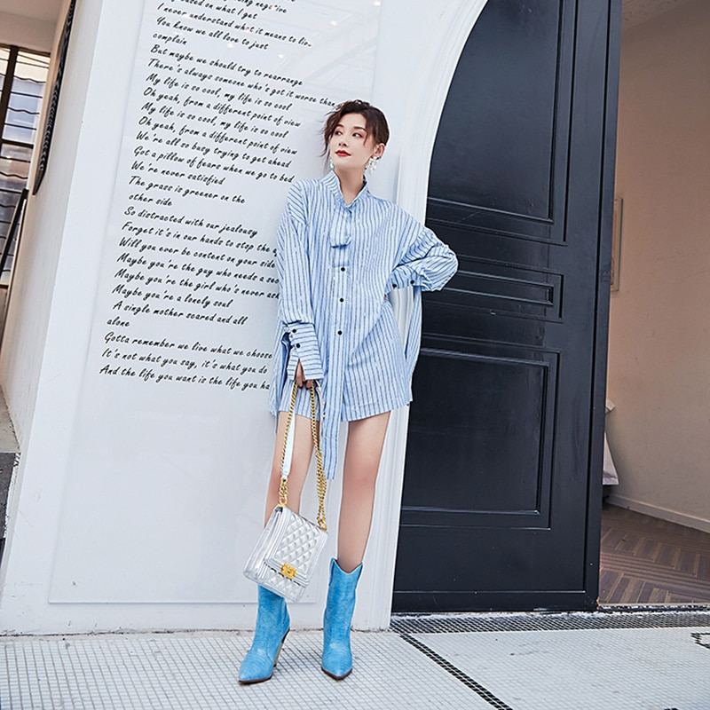 [EAM] Women blue striped ribbon big size Blouse New stand collar Long Sleeve Loose Fit Shirt Fashion Spring Autumn 2021 1Y891