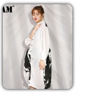 [EAM] Women White Bandage Back Hollow Out Blouse New Lapel Long Sleeve Loose Fit Shirt Fashion Tide Spring Autumn 2021 1T122