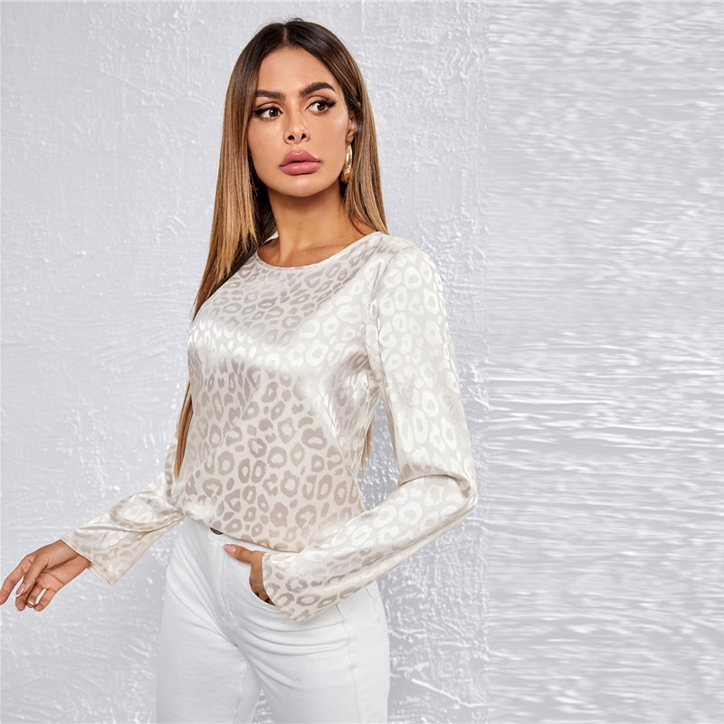 COLROVIE Beige Leopard Jacquard Satin Top Women Autumn Office Lady Long Sleeve Round Neck Elegant Tops and Blouses