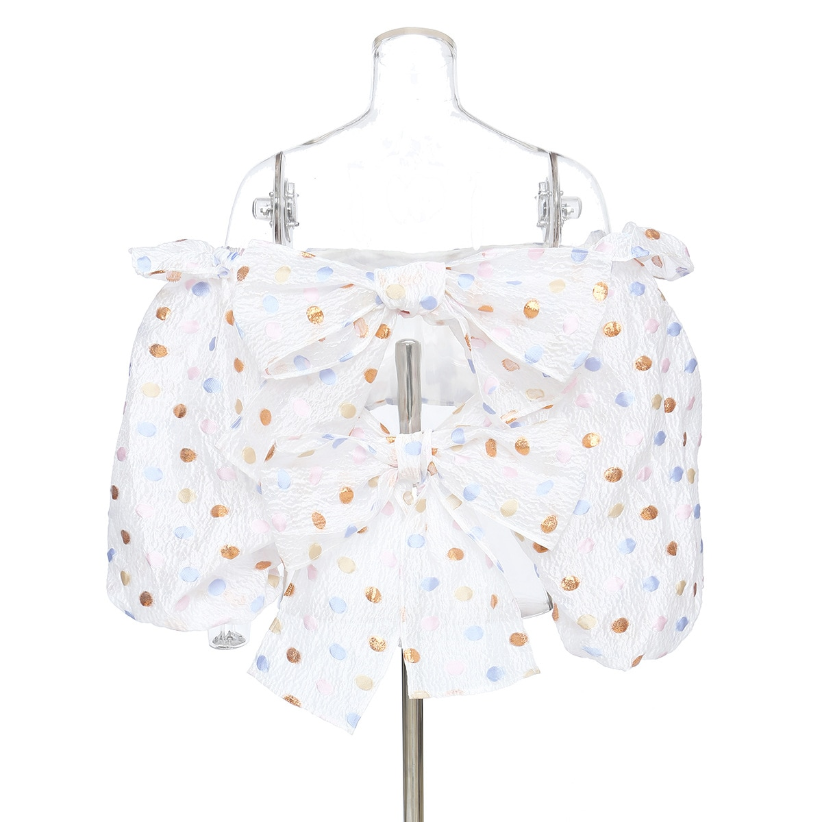 DEAT 2021 new spring and summer puff sleeves polka dots printed short high waist dobby fabric straps bow shirt WM29100L