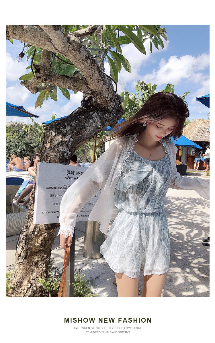 Mishow Lace casual chiffon women blouse 2019 summer beach holiday thin coats lantern sleeves solid female tops MX18B4894