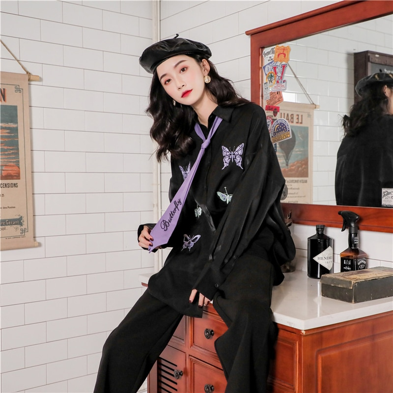 Womens Blouse Gothic Black Autumn Long Sleeve Butterfly Embroidery Harajuku Streetwear Casual Loose Turn Down Collar Shirt Tops