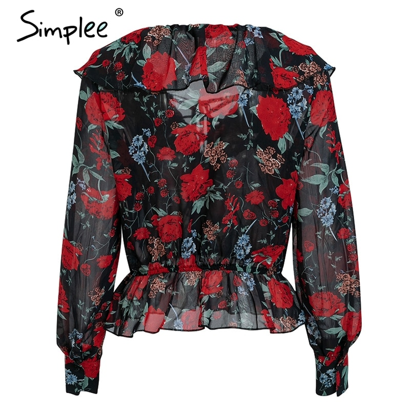 Simplee V neck floral print women shirt Lace up ruffles short sweet blouse 2019 Spring long sleeve casual blusas female