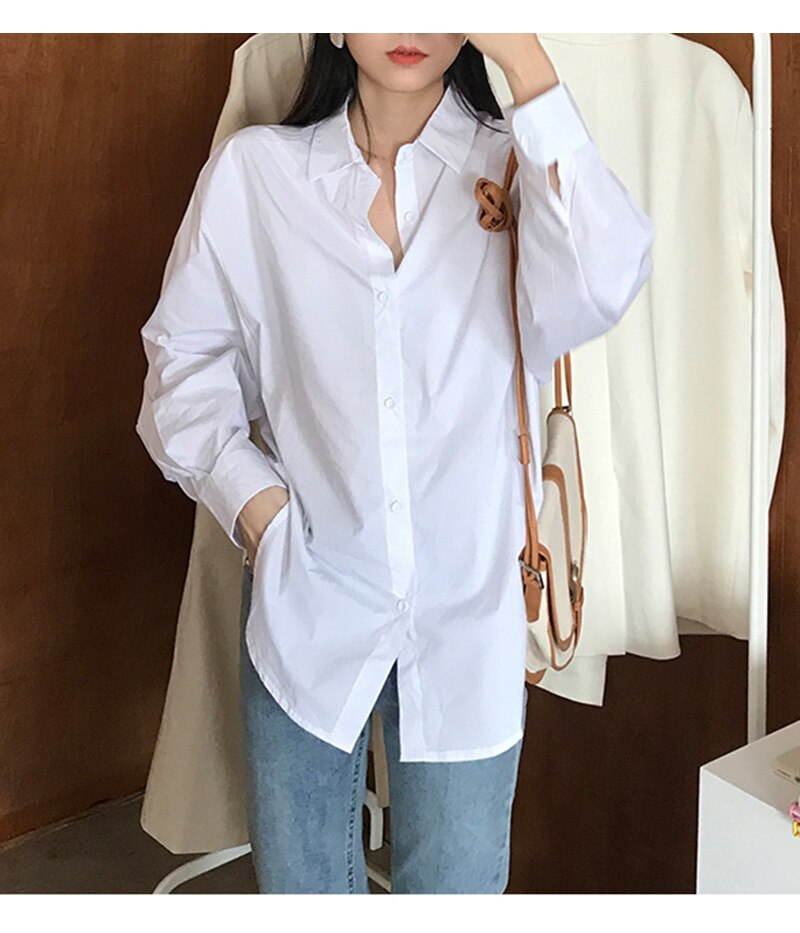 Syiwidii Oversized White Women Tops and Blouse Long Sleeve Cotton Plus Size Women Clothing  Plus Size Button Up Shirt Fall 2020
